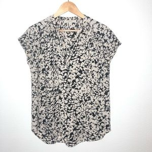 Loft Black and Nude floral print cap sleeve Top